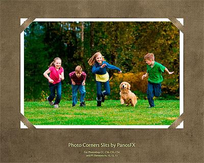 Photo corners - Slits Photoshop actions
