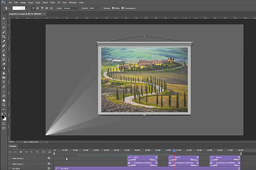 Create an animated projection screen in Photoshop