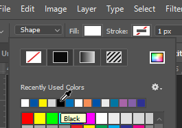 select black as fill color